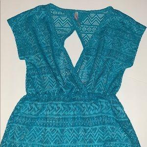 Girls swimsuit coverup turquoise size 10 EUC